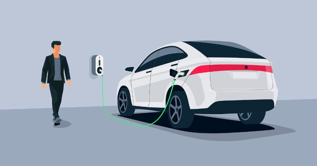 Vector graphic of person walking towards EV plugged into charge point